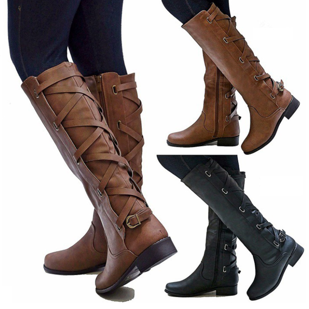 YJSFG HOUSE 2018 Women Knee High Winter Boots Women Soft Leather Knight Boots Fashion Zipper Women Thigh High Flat Boots Shoes