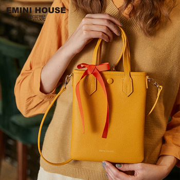EMINI HOUSE Bow-Knot Mini Tote Bag Split Leather Shoulder Bag Luxury Handbags Women Bags Designer Crossbody Bags For Women Shoulder Bags