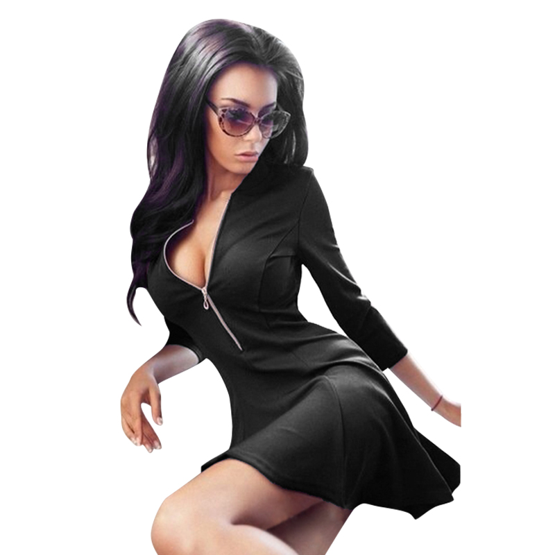 2015 New Fashion Ladies Deep V Neck Zipper Stretch Bodycon Dress Women Sexy Night Club Wear