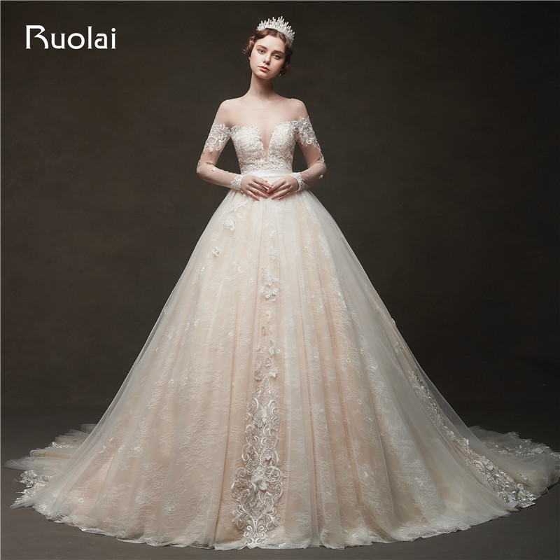 Vintage Champagne Wedding Dresses Lace Appliques Ball Gown: 2019 Champagne Wedding Dresses Long Sleeve Ball Gown