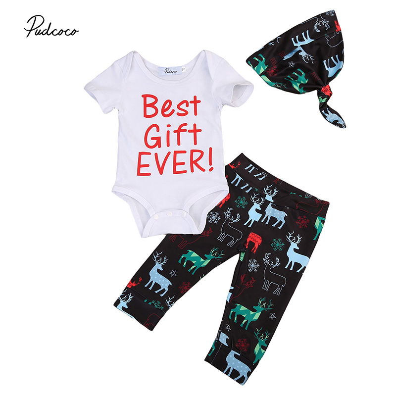 3PCS Newborn Christmas Clothes Set Best Gift Ever Long Sleeve Cotton Romper Tops+Reindeer Pant Hat Outfit Kids Xmas Clothing