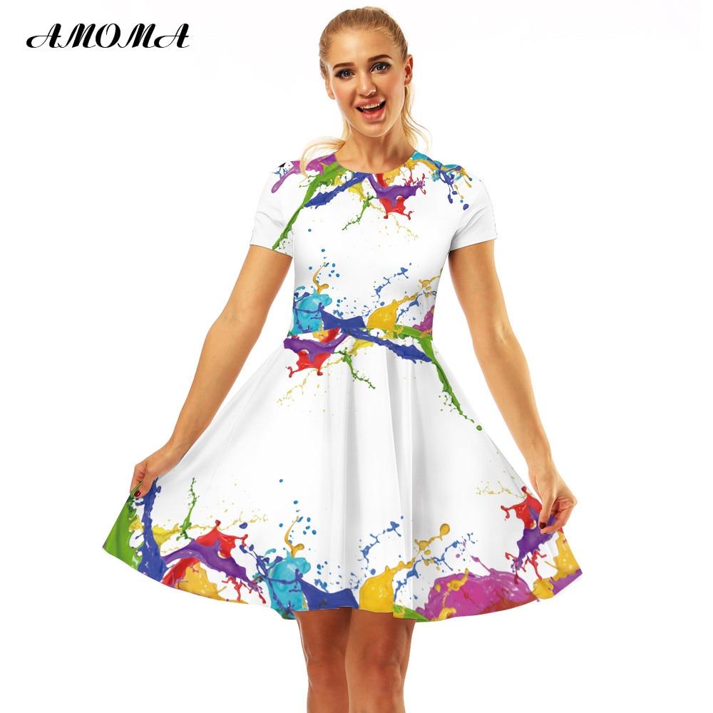 AMOMA Women Slim Fit Vintage Dress Short Sleeve 3D Print Casual Summer A-Line  Midi 21c0dd3b410c