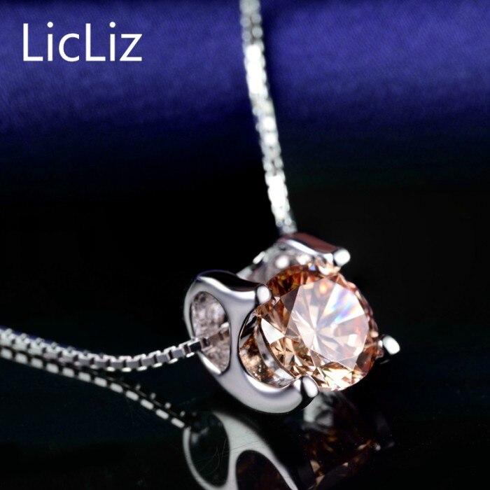 LicLiz 925 пробы серебряный пасьянс подвески для женщин белый желтый фиолетовый кубический цирконий подвески для ожерелья медальон без цепи LP0214 - Цвет камня: Yellow Zircon