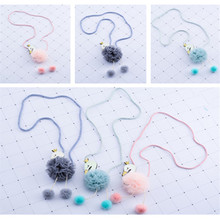 Korea Handmade Cute Yarn Flower Cartoon Swan Children Necklace For Girls Kids Apparel Accessories-HZPRCGNL036F