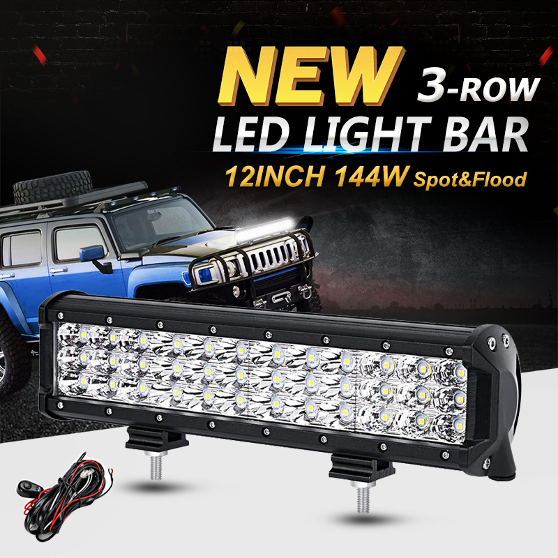 Oslamp 12inch 144W 3-Row CREE Chips LED Light Bar Offroad Combo Beam Led Work Light Truck SUV ATV 4x4 4WD 12v 24v Driving Lamp  oslamp 7d 120w 12 led work light bar cree chips led bar offroad spot flood truck suv atv 4x4 4wd driving 12v 24v led bar lights