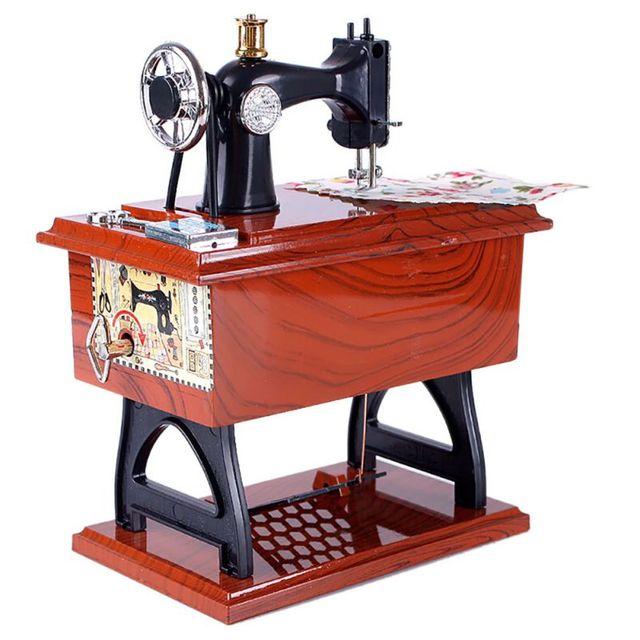 New Mini Sewing Machine Music Box Sartorius Clockwork Style Musical Magnificent Sewing Machine Music Box
