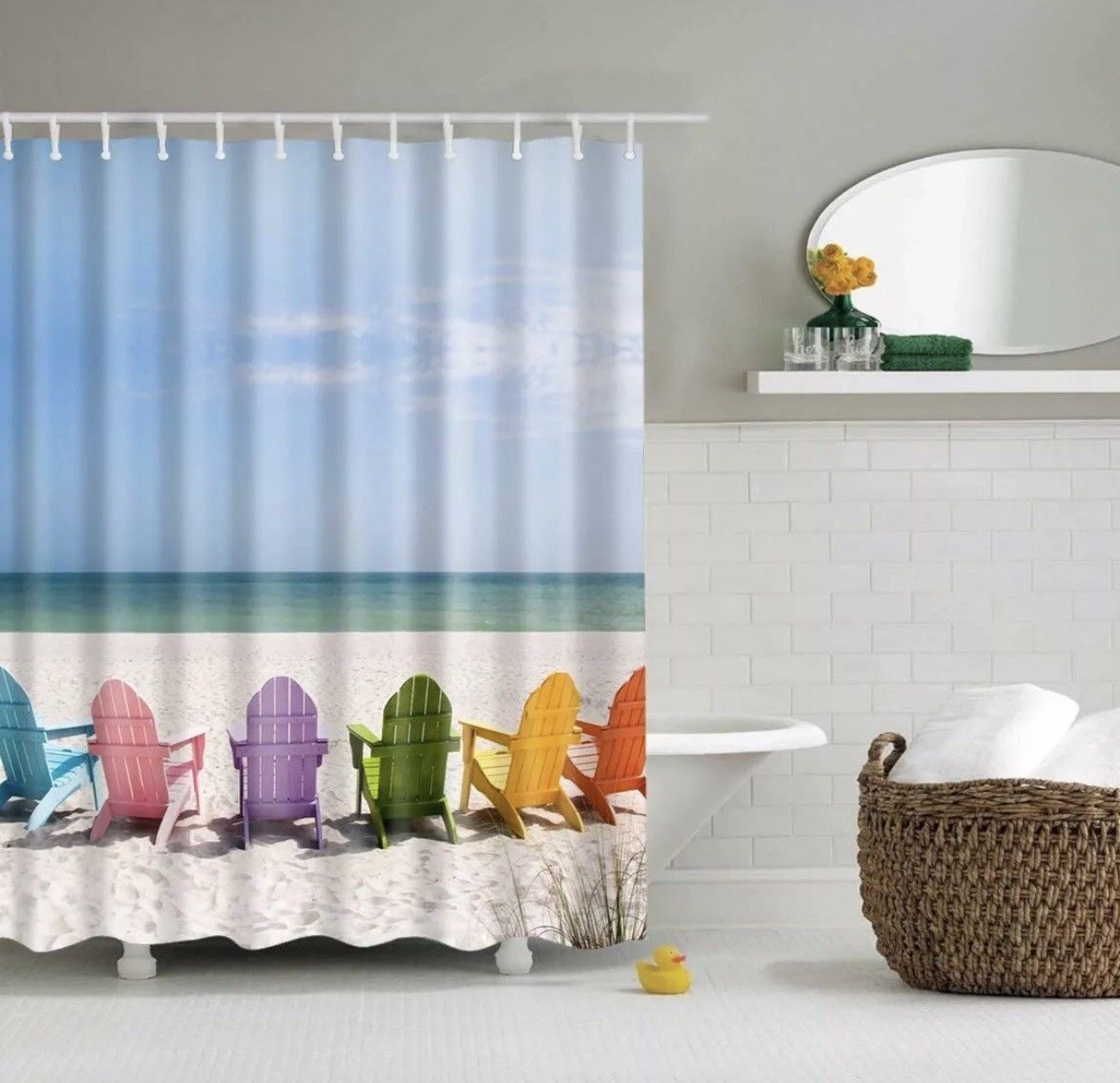 beach shower curtains polyester bathroom with 12 hooks waterproof for decor landscape bath chair