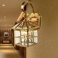 Clássico Casa Pequena Lâmpada de Parede Do Vintage Ao Ar Livre 110 V ~ 220 V All Cobre E27 Sala de Luz Parede De Vidro corredor Lâmpada de Parede Levou