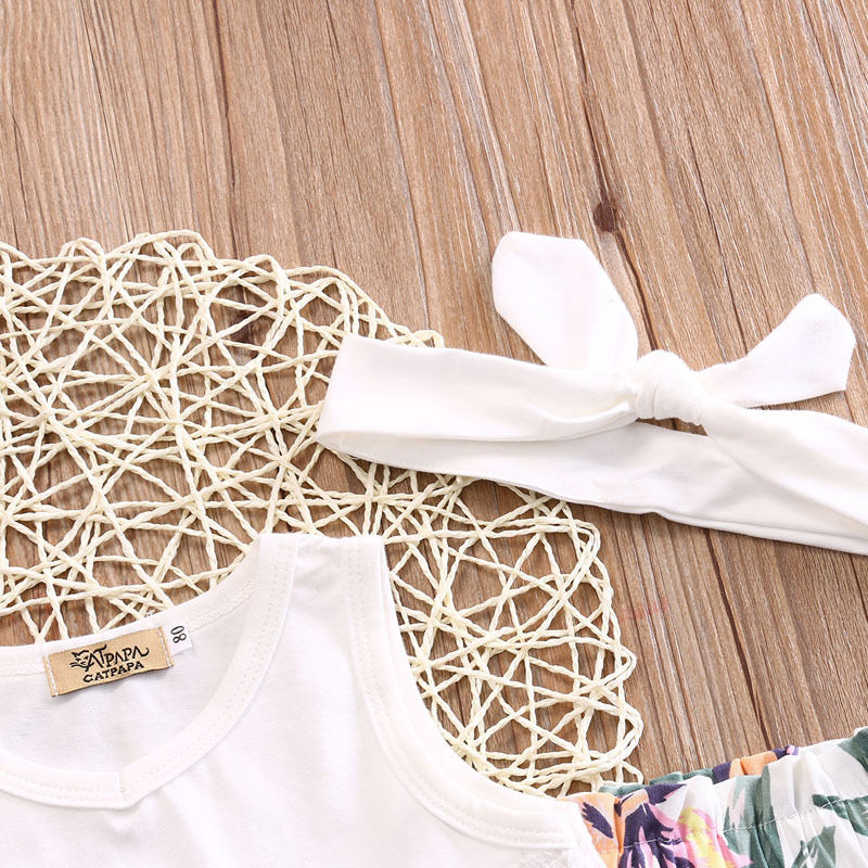 3Pcs Sets Newborn Baby Girl Clothes Tops T-shirts+Floral Pants+Headband Suits Toddler Girls Cute Summer Cotton Outfit