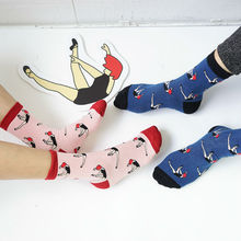 YIZI Creative Ballet Girl Cartoon Socks Women and Men Kawaii Tube Socks Novelty Pink Dark Blue Cotton Sock For lovers