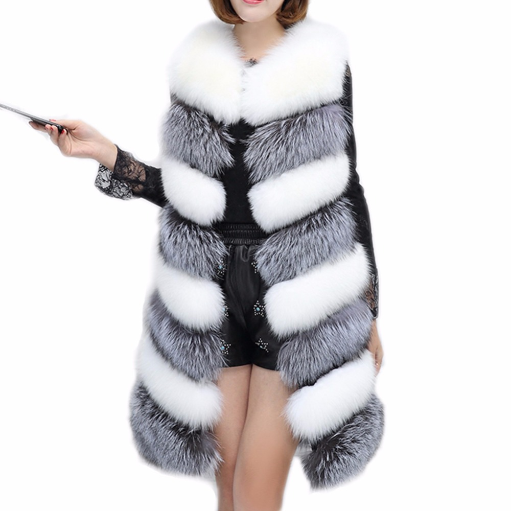 FOLOBE Faux Fur Fashion Mixed Colors Womens Winter Warm Vest X Long Coat Jacket Outwear Waistcoat