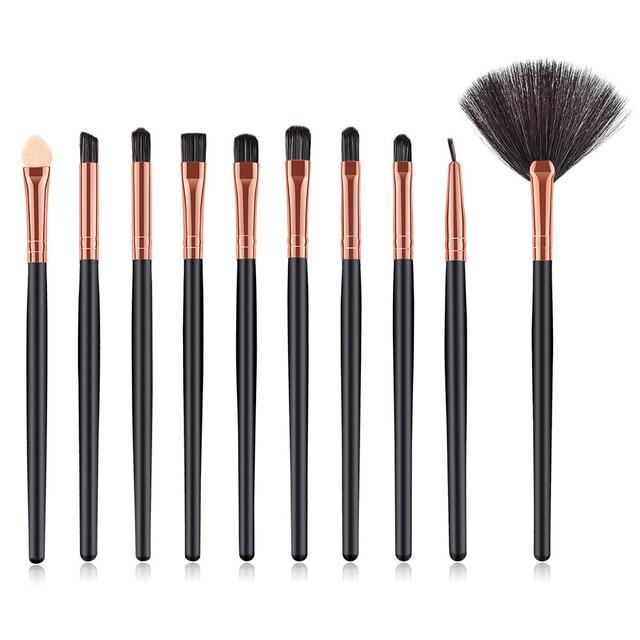 10 piezas de madera de maquillaje cepillo de sombra de ojos cepillo cosméticos cepillo de mezcla de herramienta de base de sombra de ojos de eyelinerlip cepillo