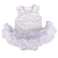 3D Rose de La Flor Blanca Vestido de Novia Vestido de Encaje Traje De Bautizo Bautismo Infantil Bebe Niñas Vestidos de Bebé Recién Nacido Ropa de La Muchacha