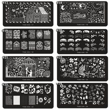 1 x 2018 New Design Nail Stamp 12*6CM Metal Template Konad Polish Flower Designs Art Stamping Image Plates Stencils TX01-24