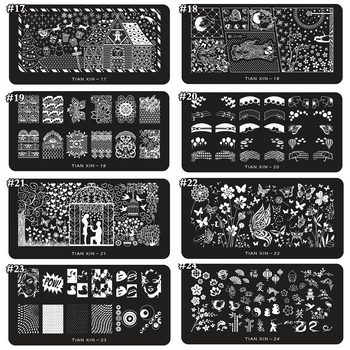 1 x 2018 New Design Nail Stamp 12*6CM Metal Template Konad Polish Flower Designs Nail Art Stamping Image Plates Stencils TX01-24 недорого