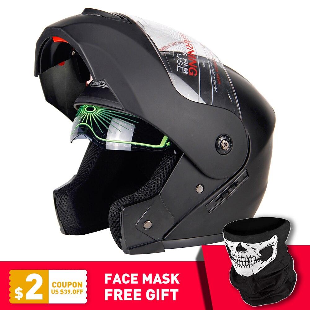 2019 nuevo Flip Up Casco de motocicleta de carreras Modular de doble lente Motocross Moto Casco de cara completa Casco Moto Capacete Casque #