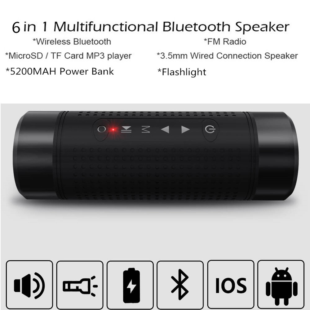 Portable Subwoofer Bass Speaker Wireless Bluetooth Speaker Outdoor Waterproof Bicycle Speaker 5200mAh Power bank Flashlight цена