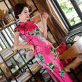 Sexy Charming Retro Rose Satin Silk Cap Sleeve Chinese Traditional Cheongsam Evening Dress High-slit Full-Length Qipao QP29