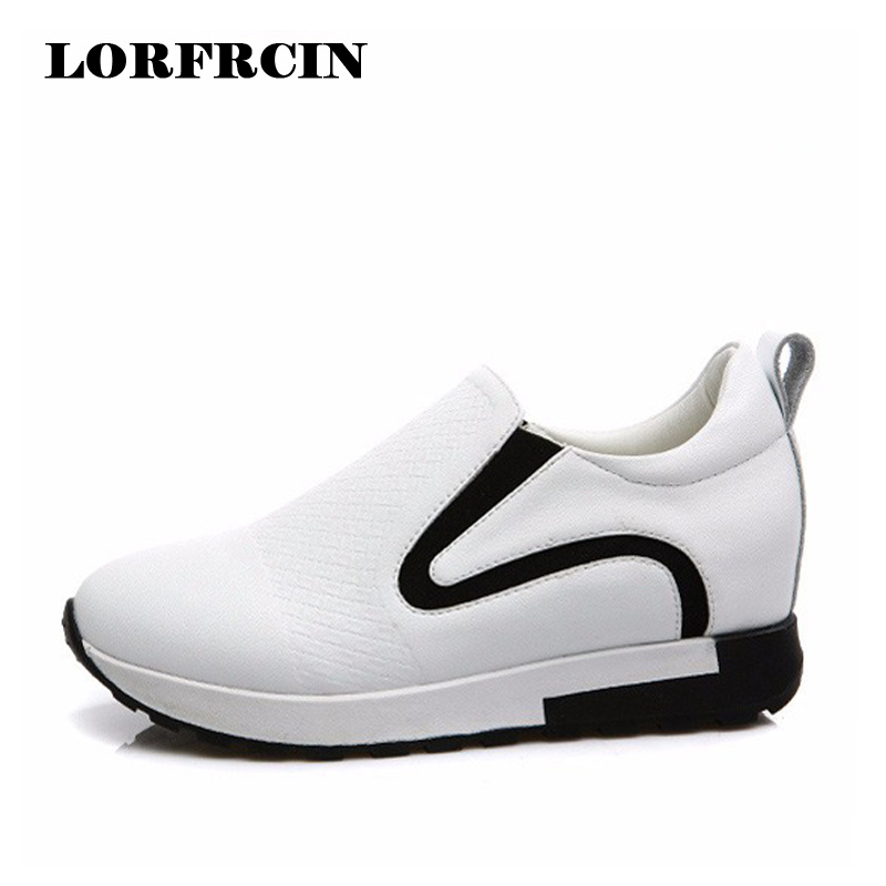 Genuine Leather Women Casual Shoes High Heels Platform Slip On Shoes Woman Hidden Heel Loafers Woman zapatillas deporte mujer nayiduyun women genuine leather wedge high heel pumps platform creepers round toe slip on casual shoes boots wedge sneakers