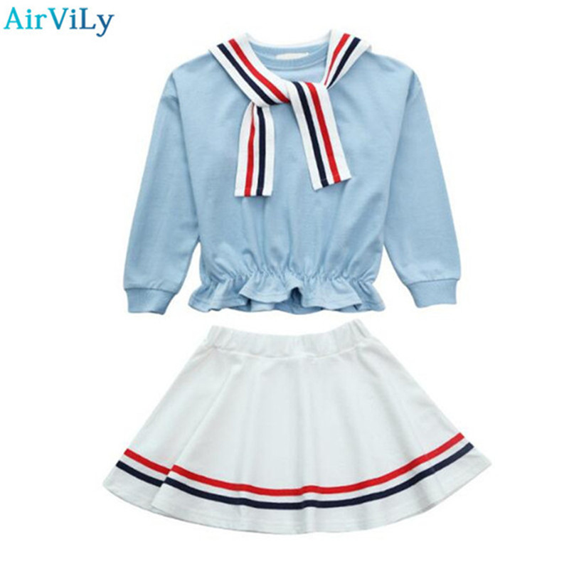 Spring Autumn Girls Clothing Set 2 Pcs Long Sleeve T-shirt & Stripe Skirt Set Pink Blue Dress Set Girl School Wear Outfits lovely boy girl pattern vinyl piggy bank set pink blue brown 2 pcs