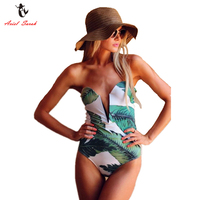 Ariel Sarah Brand 2017 One Piece Swimsuit Green Floral Print Swimwear Women Sexy Monokini Deep V