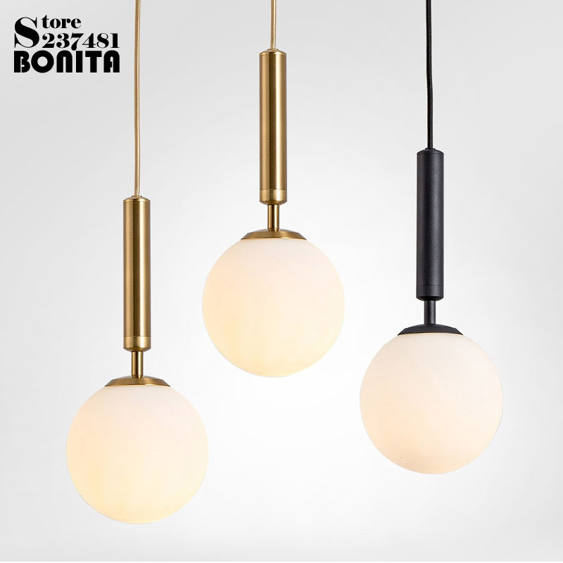 Milky glass Transparent glass golf glass ball modern hanging lamps Electroplated Copper Gold scrub Black Iron pendant lighting