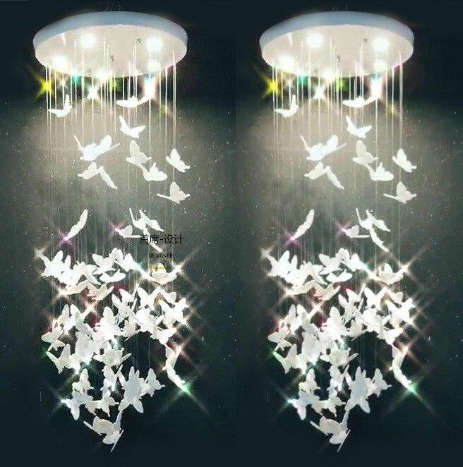 Lustre papillon nordique acrylique porche vestiaire simple escalier vestiaire bar table décoration chevet lustre lampe à LED
