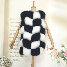 Fashion Black/White Real Fur Vest For Women and Ladies, High Quality Natural Fox  Fur Gilet Vests Girl's Waistcoat