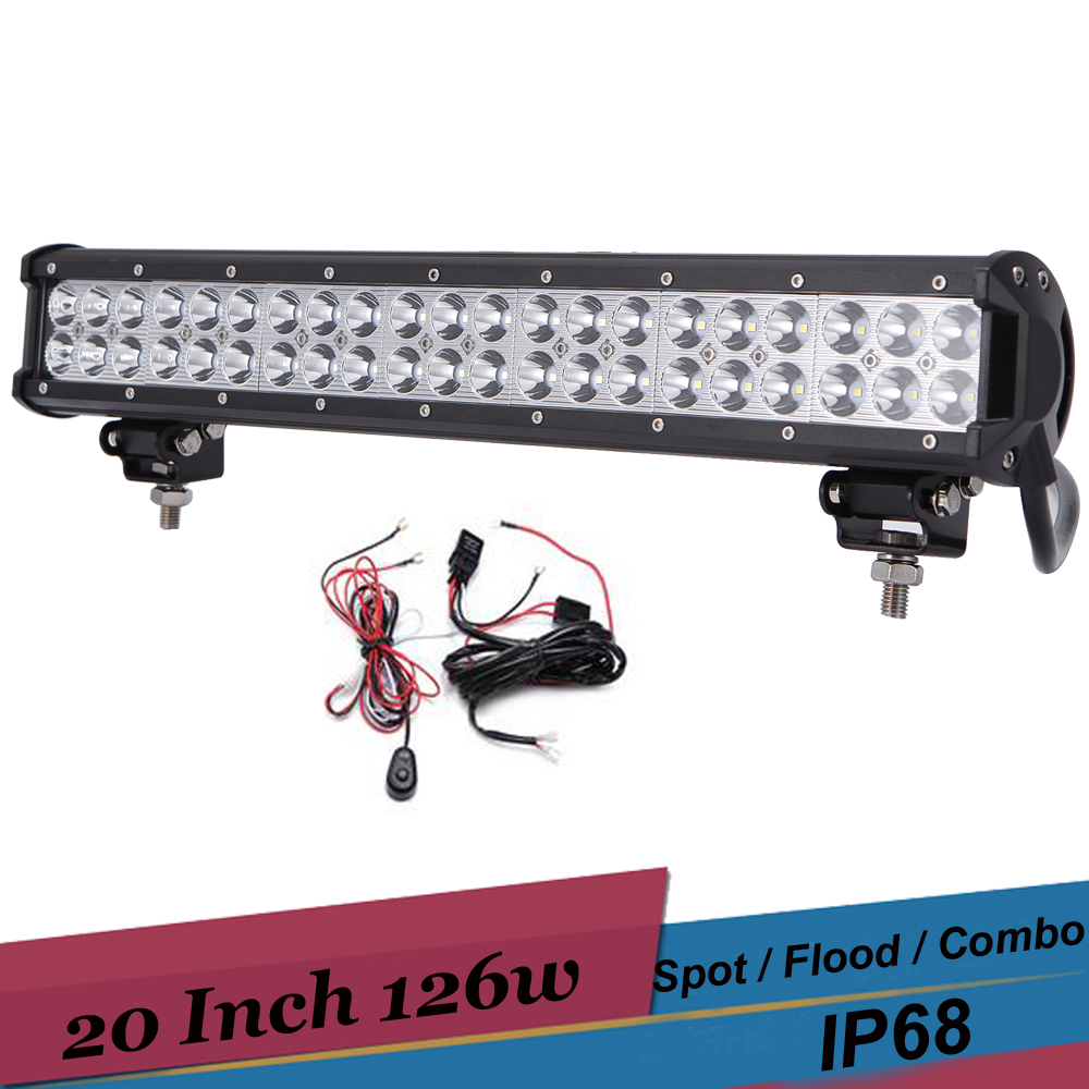 126W 20'' Inch LED Light Offroad 4x4 Driving Light Bar Spot Flood Combo LED Headlight Fog Lamp for 12V 24V SUV 4WD Truck ATV UTV high luminous lampada 4300 lm 50w e40 led bulb light 165 leds 5730 smd corn lamp ac110 220v warm white cold white free shipping