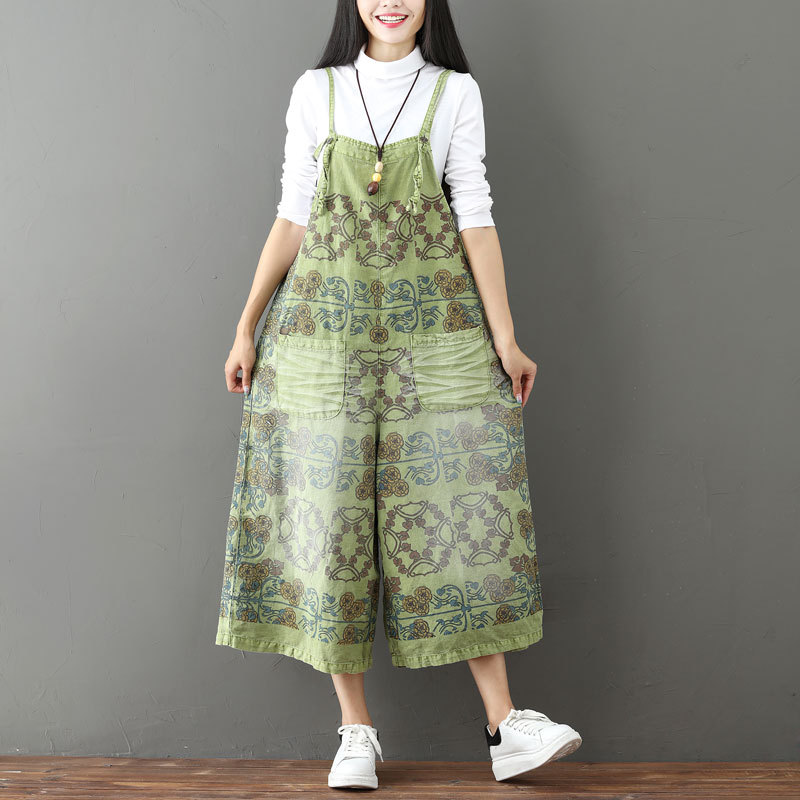 Summer overalls for Women Printed Denim Jumpsuits Retro Print Overalls plus size women Rompers  Wide Leg