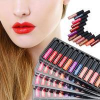 12Pcs Set POPFEEL Lip Gloss Long Lasting Waterproof Cosmetic Makeup Fashion