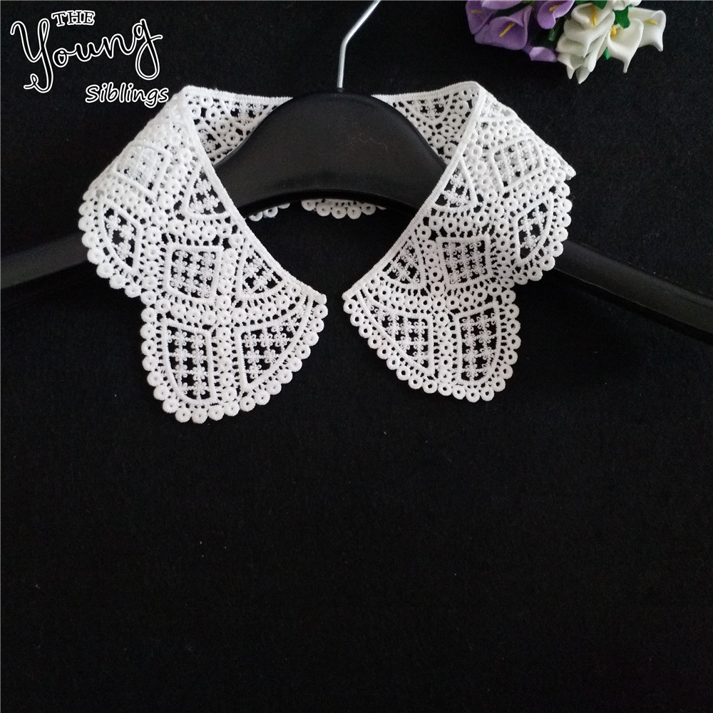 New arrive white Embroidered Lace Collar Applique Embroidery Sewing lace Neckline Fabric DIY Craft Dresses Accessories 1pcs sell image
