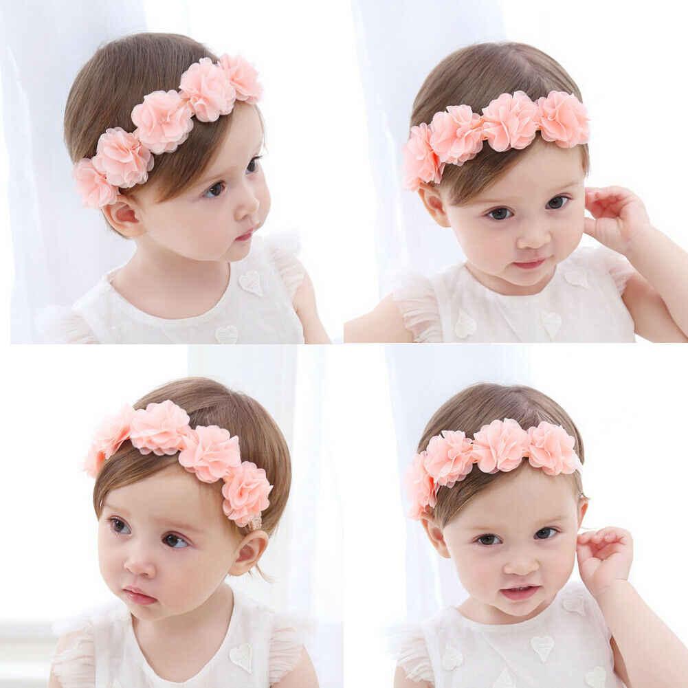 Милые дети младенец Начинающий ходить Малыш Девочка Мальчики нейлон Эластичный Цветочный Цветок головная повязка 7 цветов