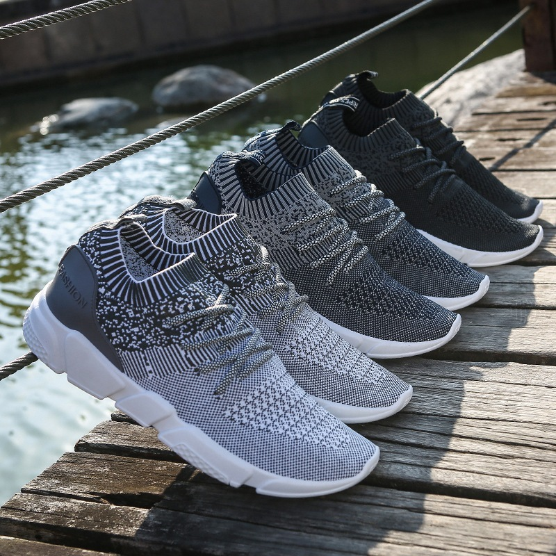 Outdoor Fly Knit Running Shoes For Men Lightweight Summer Breathable Sport Shoes Comfortable Baskets Homme Chaussure Sport Homme