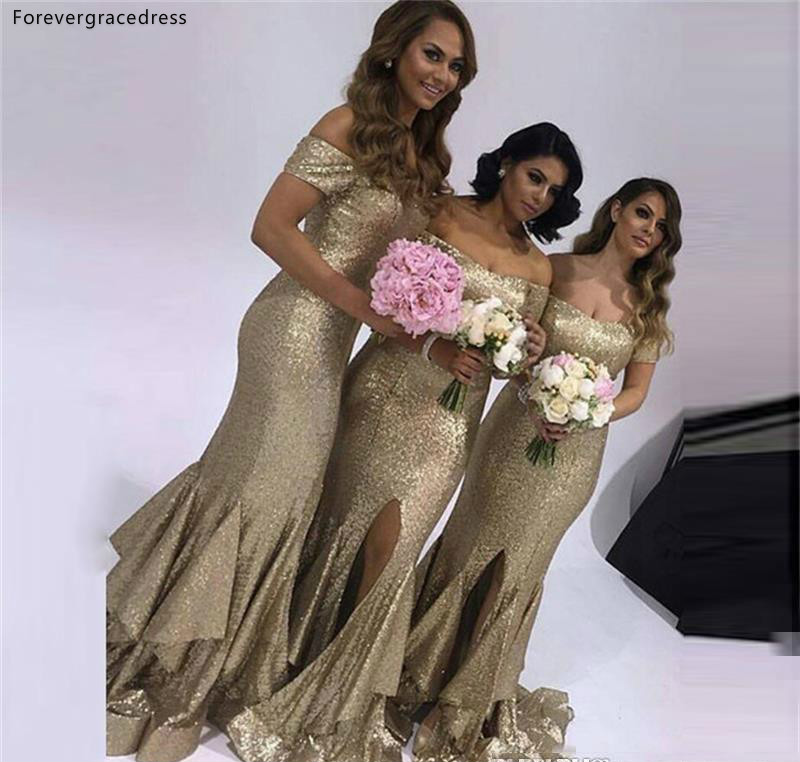 Gold Sequined   Bridesmaid     Dress   2019 Latest Summer Country Garden Formal Wedding Party Guest Maid of Honor Gown Plus Size