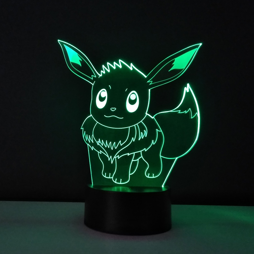3D Visual illusion lamp Pokemon Eevee Transparent Acrylic Night Light LED fairy Lampa Color changing Touch Table bulbing lambas three dimensional 3d visual reading lights wood acrylic clear small lamp button type led stereo night light folding book lights