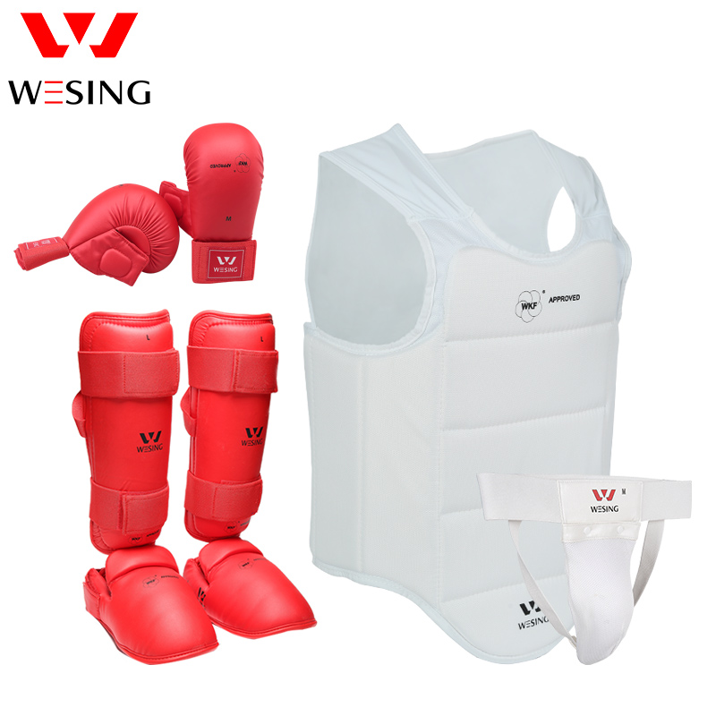 Wesing Karate Protective Gears Set for Training Competition Approved by WKF Chest Guard Gloves Shin Groin Guard for Men Women karate kata applications