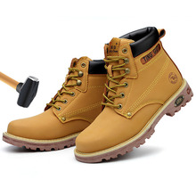 цена Men Boots Winter Shoes Work Safety Boot Anti-puncture Steel Toe Shoes Men Safety Shoes Yellow Classic Combat Ankle Boots Male онлайн в 2017 году