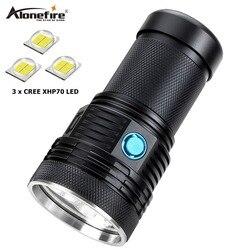 AloneFire السوبر مشرق XHP70 60 واط أقوى مصباح ليد جيب 13000lm عالية الطاقة قابلة للشحن اضواء فلاش صمامات ليد الفوانيس التخييم