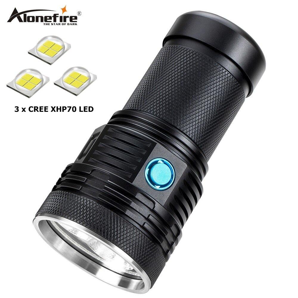 AloneFire Super lumineux XHP70 60 W plus puissant lampe de poche LED 13000lm haute puissance rechargeable lampe de poche LED lanternes camping