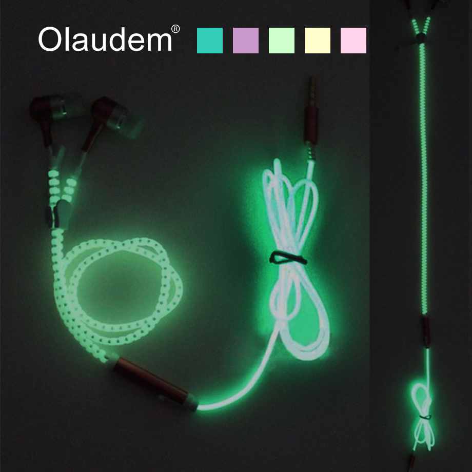 Glow Earphone Luminous Light Metal Zipper Earphones Glow in Dark Stereo Bass In-Ear Earphone With Mic For Mobile Phone EP1388 ufo pro metal in ear earphones treadmill female drug sing karaoke audio headset diy mobile phone