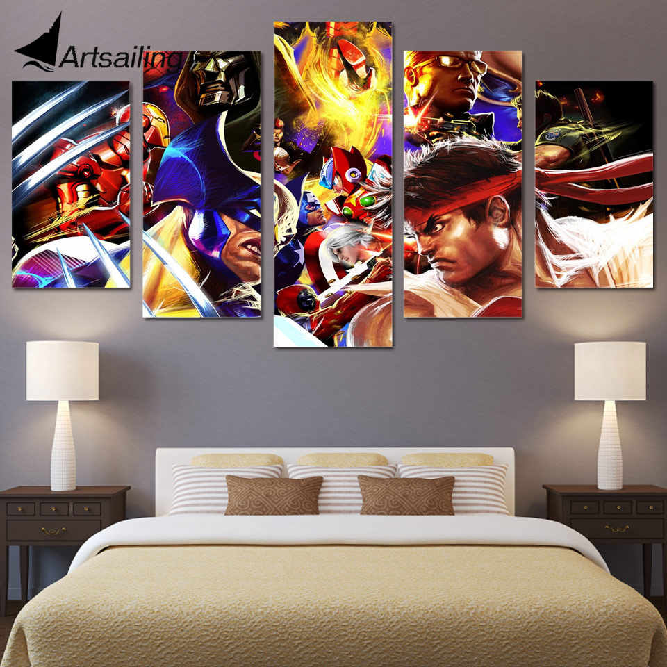 5 Piece Canvas Prints Wall Art Street Fighters Painting Picture