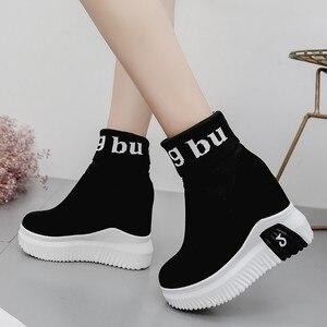 Image 4 - Vigor frescura mulher sapatos ankle sock botas mulheres super salto alto curto elásticos botas sapatos de outono tênis plataforma wy187