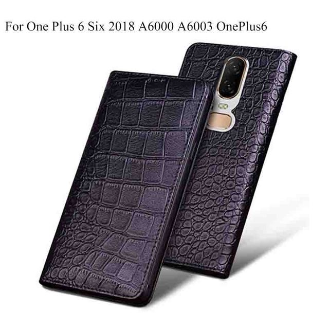 db861a47032 For OnePlus 6 OnePlus6 Case Luxury Genuine Leather flip Back Cover For One  Plus 6 Six 2018 A6000 A6003 case back shell
