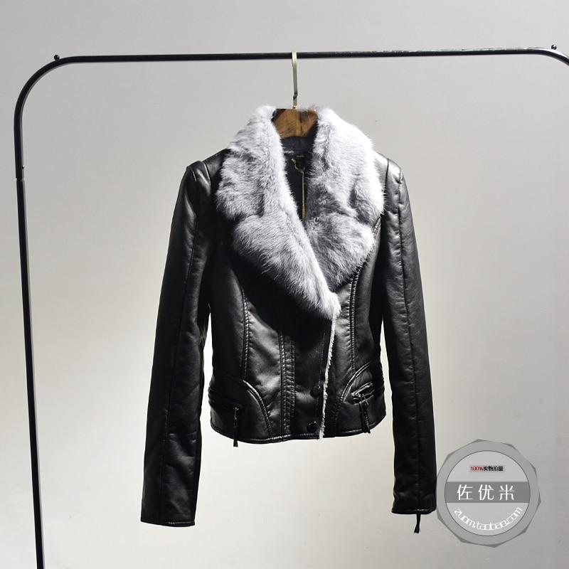 Pu Le Vente En Plus Arrivée Slim gris Manteaux Paragraphe Femelle Cuir Mince Velours 2017 kaki Collier Veste Noir Était Printemps De Lapin Épais Nouvelle Complet 8wXnPkN0O