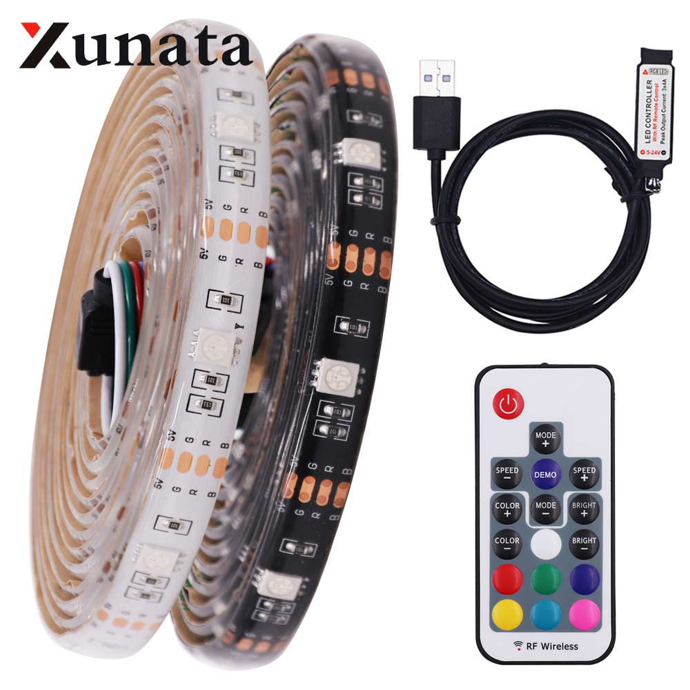 DC 5V USB 5050 RGB LED Strip TV Background Lighting Adhesive Tape Waterproof Flexible Ribbon LED Light Lamp 17Key 3KEey 1m 5m