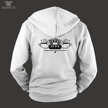 friends central perk logo design male men zipup hoodie unisex organic cotton fleece inside heavy hooded sweatshirt free shipping