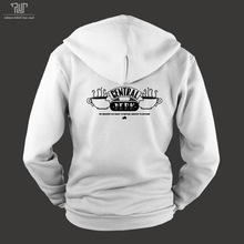 friends central perk logo design male men zipup hoodie unisex organic cotton fleece inside heavy hooded sweatshirt free shipping