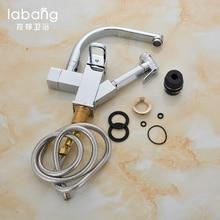 Labang Chrome латунь Кухня кран Pull Out опрыскиватель сосуд бар раковина кран Одной ручкой отверстие два типа воды на выходе смесителя Коснитесь