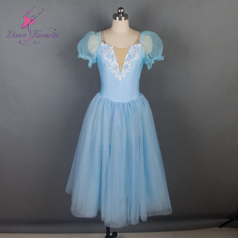 19024 Dance Favourite New Ballet Tutu Pale Blue Bodice With Puff Sleeve  Ballet Costume Women Romantic Ballet Tutu